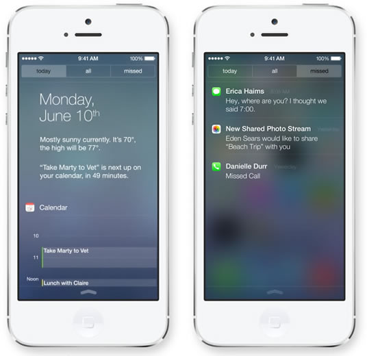 IOS 7 Notification Center - مرکز اعلانات آی او اس 7
