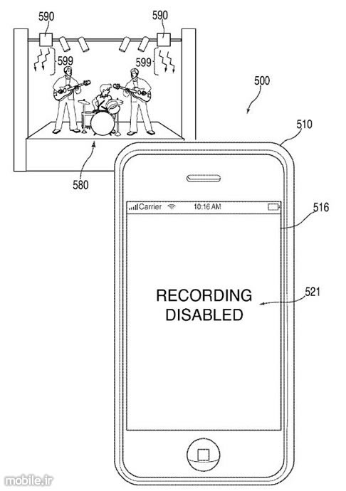 Apple remotely disabling iPhone cameras prevents audience from illegally recording a live show patent