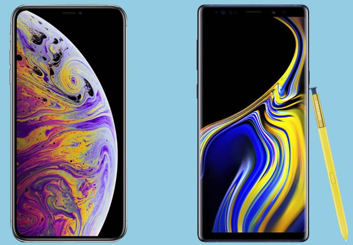 Samsung Galaxy Note9 and Apple iPhone XS Max