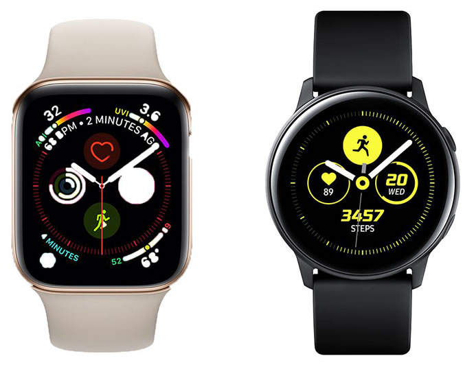 Apple Watch Series 4 and Samsung Galaxy Watch